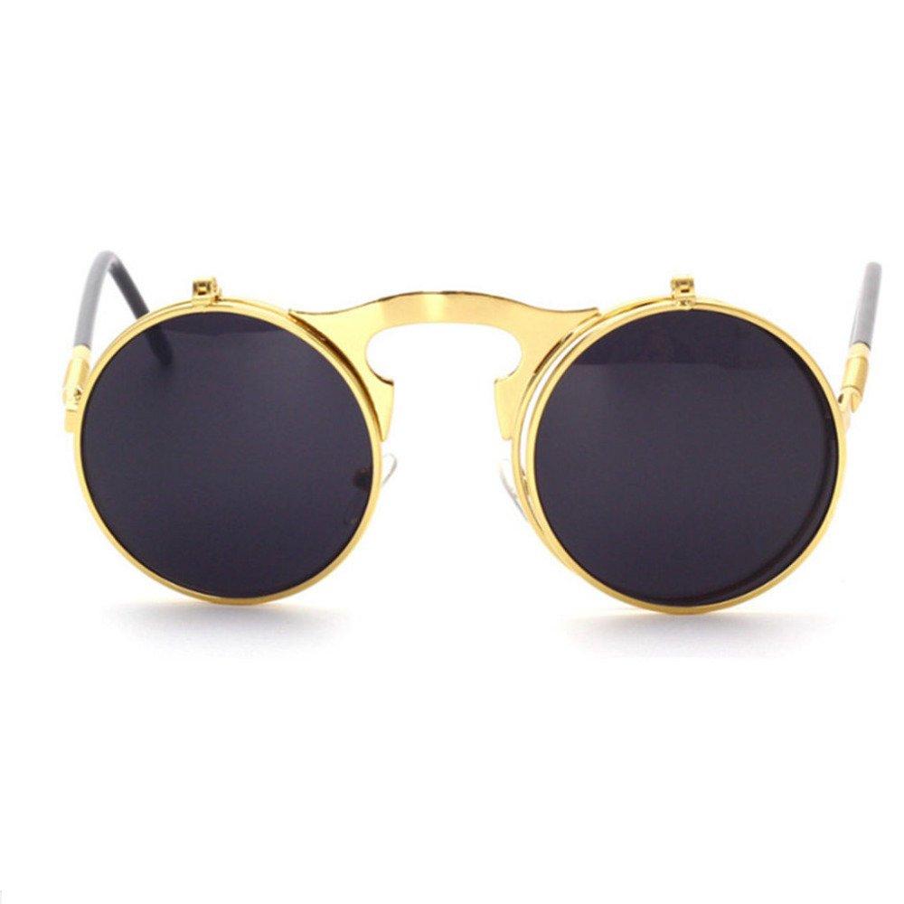 Aoligei Retro Metall Steampunk Flip Sonnenbrille flip Sonnenbrille Männer und Frauen Mode Brillen runden Feld Prinz Mirror 2r5iZ65B