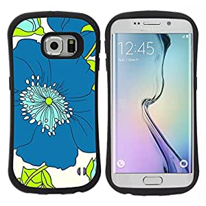 "Pulsar iFace Series Tpu silicona Carcasa Funda Case para Samsung Galaxy S6 EDGE , Arte Dibujo minimalista azul"""