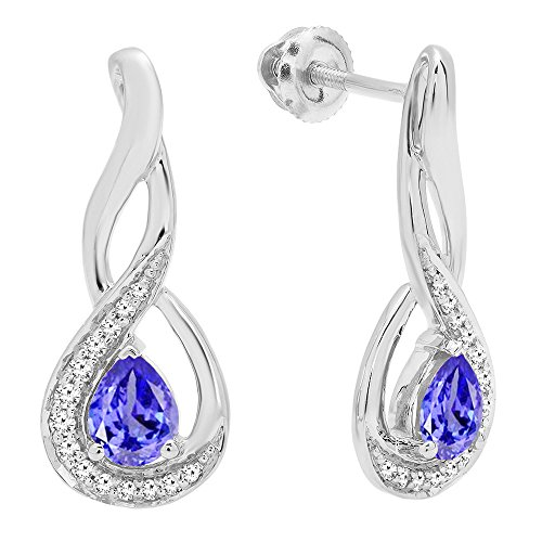Dazzlingrock Collection 10K 5X4 MM Each Pear Cut Tanzanite & Round Cut Diamond Infinity Drop Earrings, White Gold