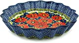 Polish Pottery Fluted Pie Dish 12-inch (Red Star) UNIKAT