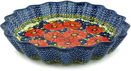 Polish Pottery Fluted Pie Dish 12-inch (Red Star) UNIKAT by Polmedia Polish Pottery