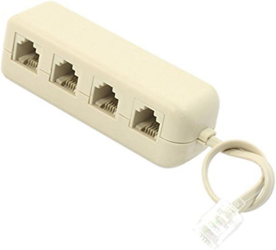 Fastone Adaptateur t/él/éphonique RJ11 6P4C M/âle /à 3 Femelles Connecteur t/él/éphonique Prise de Ligne t/él/éphonique R/épartiteur