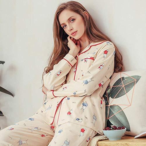 Otoño Solo V cuello Patrón Hogar Ropa Larga Beige Primavera Un Conjunto De El Casual Para Mujer Pijama Manga Pantalones Clásico Mujeres Dormir Cartoon Pecho XqZfwUx