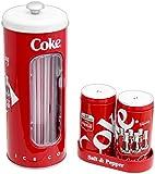 The Tin Box Company Coca Cola Bundle - Straw Holder and Salt & Pepper Shaker Set