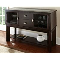 Steve Silver Delano Server with Crackle Glass Insert - Espresso