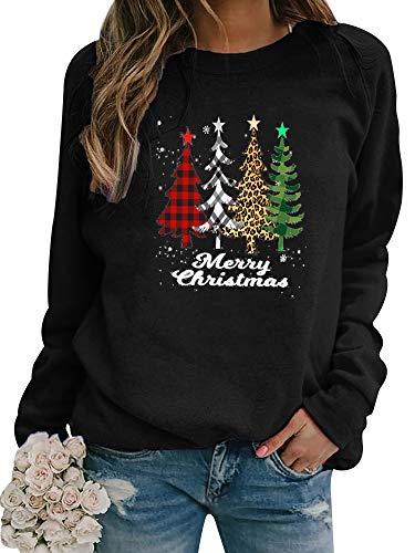 Dresswel Women Merry Christmas Jumper Christmas Tree Sweatshirt Xmas Pullover Long Sleeve Tops Blouse