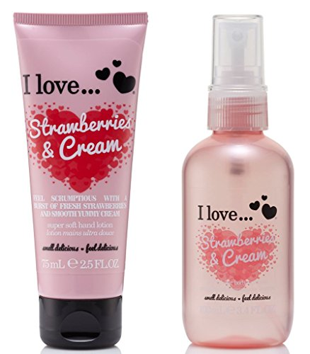 I Love... Strawberries & Cream Body Spritzer 100ml & Hand Lotion 75ml Duo