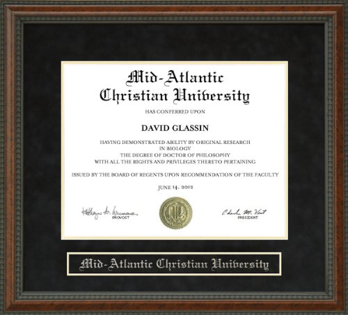 Mid Atlantic Christian University Diploma Frame - Burl by Wordyisms
