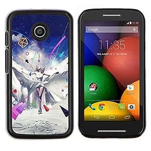 Qstar Arte & diseño plástico duro Fundas Cover Cubre Hard Case Cover para Motorola Moto E (Fantasía Pop Art Princesa)