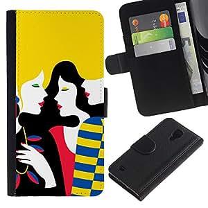 WINCASE (No Para S4 Mini) Cuadro Funda Voltear Cuero Ranura Tarjetas TPU Carcasas Protectora Cover Case Para Samsung Galaxy S4 IV I9500 - la mujer del arte señora rubia