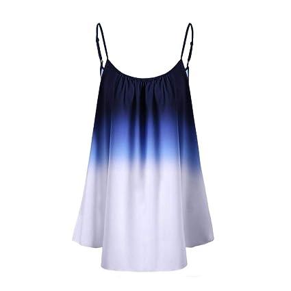 Mujeres Tops Rovinci Verano Casual Gradiente Sin Mangas Tresillo Cami Top Recortar Camiseta sin Mangas Blusa