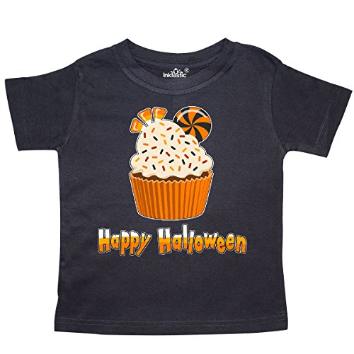 Inktastic - Happy Halloween- cute candy corn cupcake Toddler T-Shirt 2T (Halloween Cupcakes For Preschoolers)