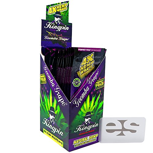 Price comparison product image KingPin Pure Hemp Goomba Grape Flavored Wraps (Box of 25 Packs,  4 Wraps Per Pack) with ES Scoop Card