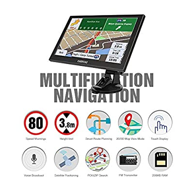 CARRVA 2020 9 inch Car GPS Navigation for Car, with Truck Navigation Voice Steering Reminder System, Current Speed Display, Truck Length, Width and Height Settings, Speed Camera prompts: GPS & Navigation