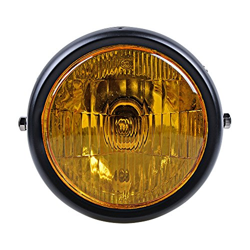6.5 Inch Round 35W Amber Side Mounted Single Headlight Bobber Cafe Racer Cruiser Old School