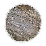 KESS InHouse Nick Nareshni Desert Stone Wall Brown White Photography Round Beach Towel Blanket