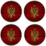 Montenegro Flag Brick Wall Design Round Coasters - Set of 4