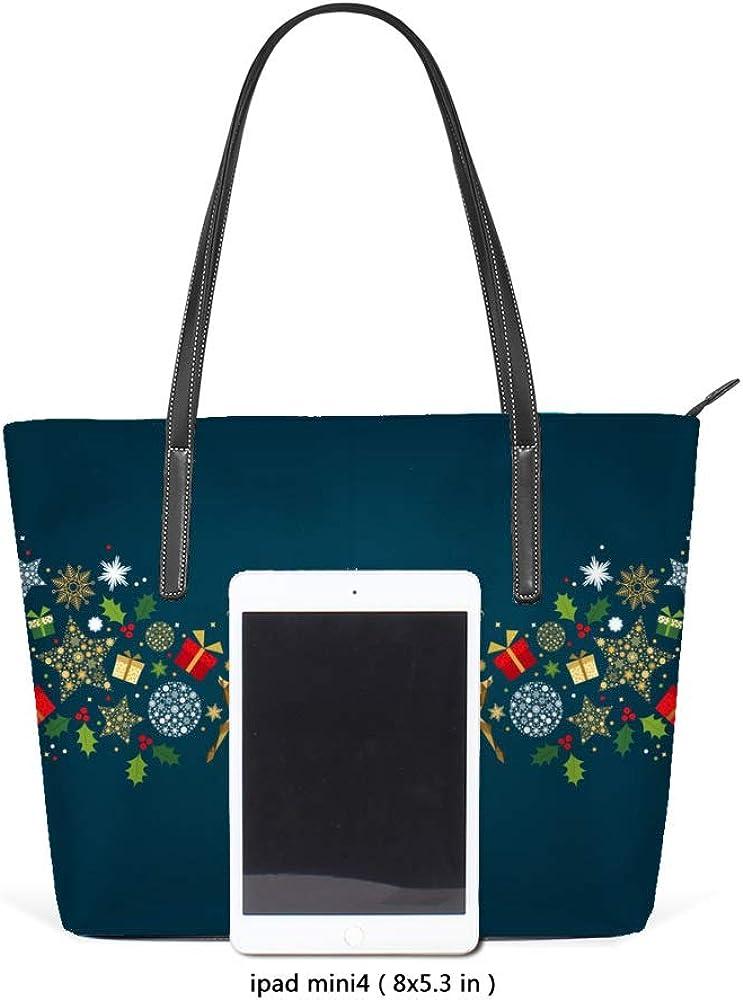 Zhongji Tote Handbag Women PU Leather Fashion Zipper Shoulder Bag Large Capacity Merry Christmas