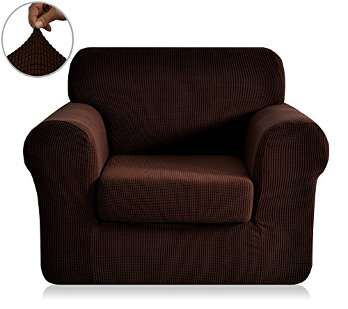 Chunyi 2 Piece Jacquard Polyester Spandex Sofa Slipcover Chair Chocolate