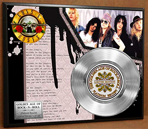G.A.R.R. Guns n Roses Welcome to The Jungle Platinum Record Poster Art Limited Edition Commemorative Music Memorabilia Display Plaque