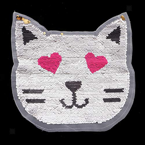 Cute Cat Reversible Sequins Patches Applique Two Color Changing for Clothes