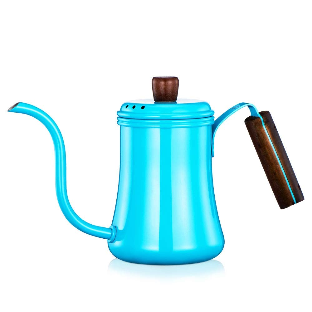 XXJF 304 Stainless Steel Coffee Pot 1mm Outlet Fine Mouth Pot 700ML Large Capacity Comfortable Handle Pot Lid Breathable Design Suitable for Home Restaurant Bar Cafe Etc. (Color : Blue) by XXJF