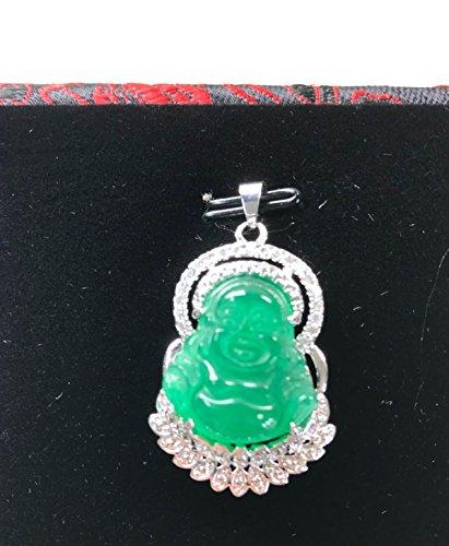 18k white Gold Plate Green jadeite jade happy Buddha god necklace diamond (Imitation) BB279994 (White 18ct Gold Plate)