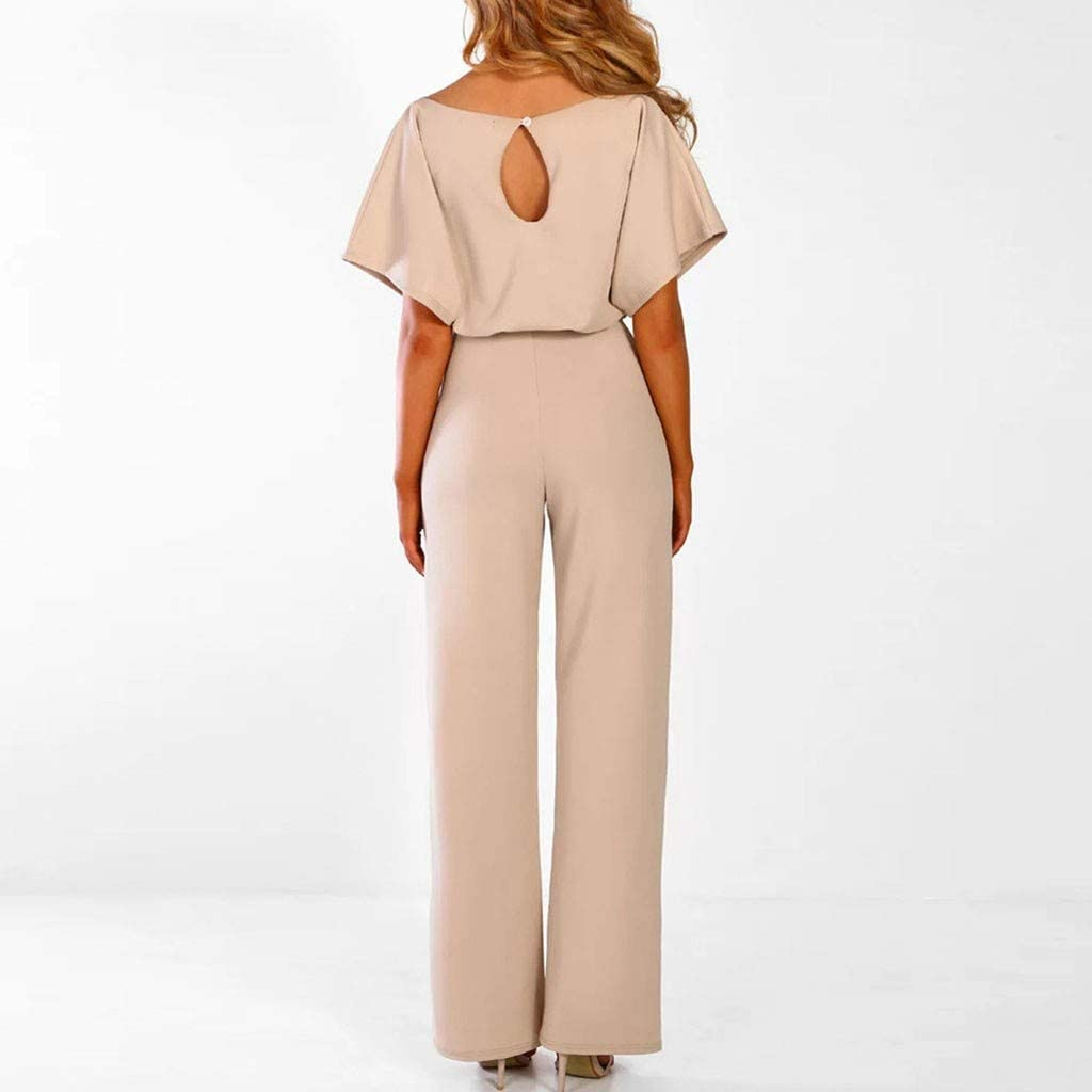 IEasⓄn Women Short Sleeve Playsuit,Fashion Lace up Modern Ladies Popular Straight Leg Jumpsuit