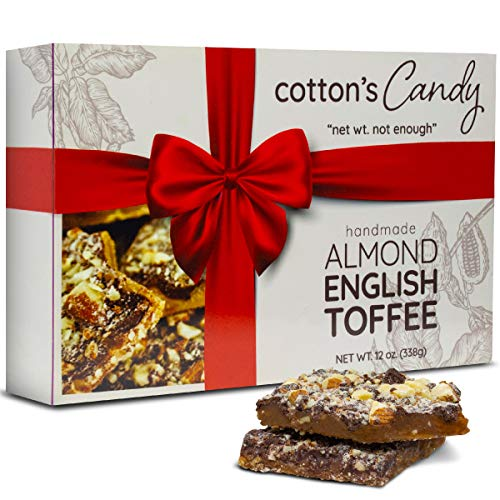 Cotton's Candy Almond English Toffee Handmade Premium Chopped Almonds in Caramelized Fine Domestic Sugar and Real Butter Toffee Bar Covered in Premium Semi-Sweet Chocolate Perfect Christmas Gift -