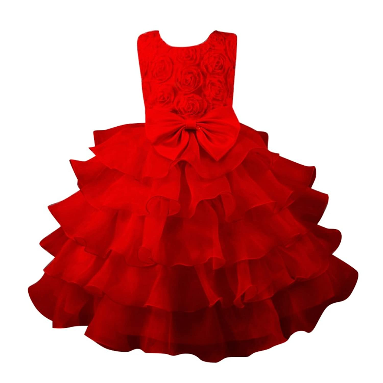 Balai Kids Fille Ruffle Bowknot Dentelle Robes Party Wedding Dresses