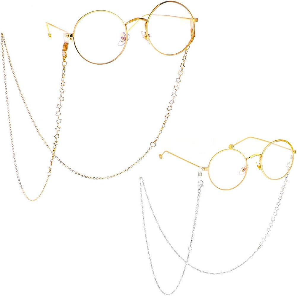 Bianco e Viola Hicarer 2 Pezzi Cordoncino Adornato di Perline dImitazione Occhiali da Sole Cinturino di Fissaggio