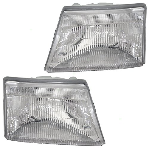 Driver and Passenger Headlights Headlamps Replacement for Ford Pickup Truck F87Z 13008 FB F87Z 13008 EB -
