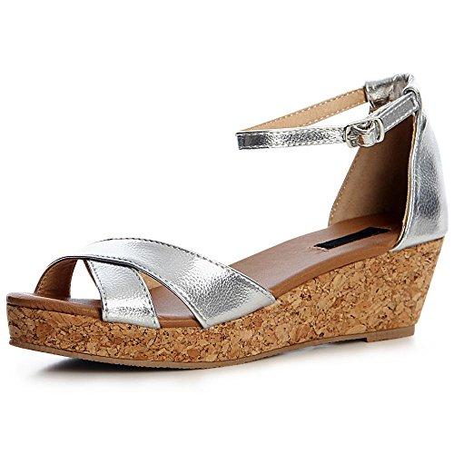 Topschuhe24 Sandales Topschuhe24 Sandalettes Femmes Femmes Argent pqxPTv