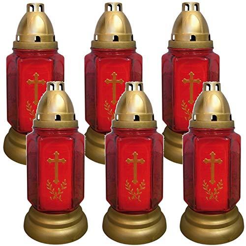 Grablicht Grab-Licht Grabkerze Kerze Friedhofskerze aus Glas rot im 2er Set