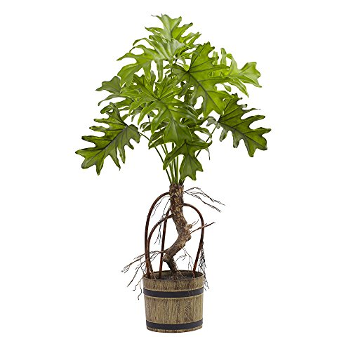 Nearly Natural Split Philo Plant with Bucket Planter -