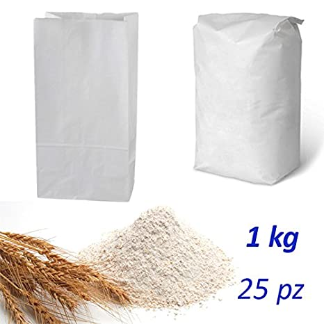 25 Bolsas papel Alimentos Blancos Saco para harina 1 kg ...