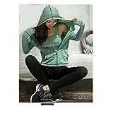 LolaRun Women M-2X Comfort Athletic Space dye Solid Pocket Zip Long Sleeve Hoodie Jacket Running Yoga (Green, M/L)