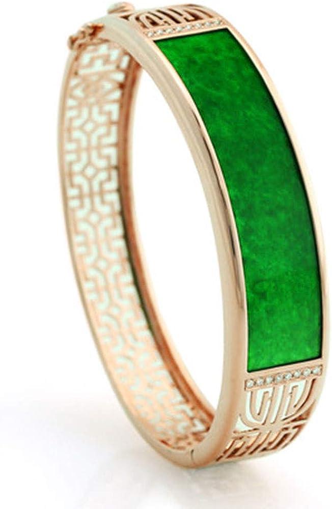 Auténtico birmano lleno de verde esmeralda verde jade incrustaciones de oro jade pulsera joyería