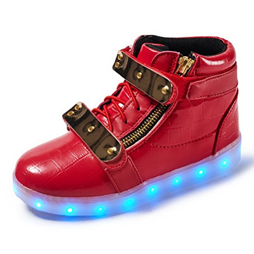 Girls up Red Shoes Adult Light Boy for LED Sneaker Kids LED Fashion Up Sneakers Child Light Kids 7wFganqqzE