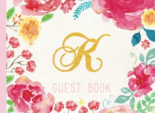 Download Guest Book Initial K: Pink Floral Watercolor Guestbook, Monogram. For Birthday Parties, Christening, Baby Shower, Celebration of Life (Elegant Celebrations) pdf