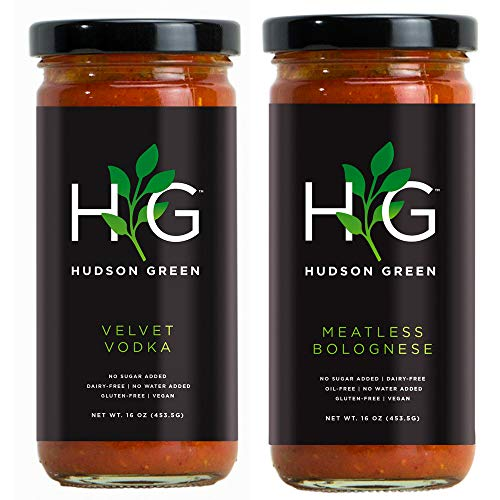 Hudson Green Vegan Tomato Sauce Variety Pack (Velvet Vodka and Meatless Bolognese) | 2 x 16 oz ()