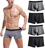 Robesbon Men's No Ride-up Boxer Briefs Stretch Comfortable Breathable Cotton Underwear 4 Pack X-Large