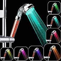 Rovtop Douchette de Douche LED, Douchette douche salle de bain Douchette à main 7 Couleurs LED Pommeau de douche Haute...