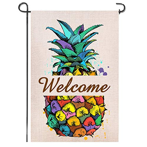 (Shmbada Welcome Pineapple Double Sided Burlap Garden Flag, Premium Material, Seasonal Spring Summer Outdoor Funny Decorative Flags for Garden Yard Lawn, Gift for Children, 12.5 x 18.5 inch)