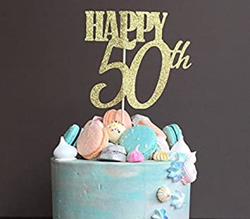 50 Birthday Cake Topper KOOTIPS Handmade Happy 50th Decoration Amazonca Home Kitchen
