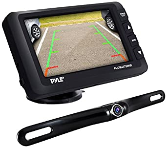Pyle Upgraded Wireless Backup Camera and Monitor Kit - Vehicle Parking Reverse System IP67 Waterproof and Fog Resistant w/ 4.3'' LCD Screen and Tilt-Adjustable Dash Cam w/Night Vision PLCM4378WIR Sound Around