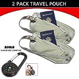 2Pk Travel Pouch Hidden Passport ID Holder Compact Security Money Waist Belt Bag + CARABINER COMPASS
