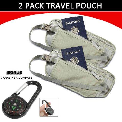 2Pk Travel Pouch Hidden Passport ID Holder Compact Security Money Waist Belt Bag + CARABINER COMPASS by Genesis21