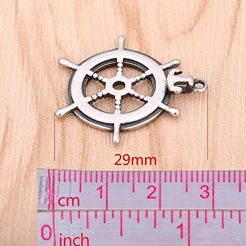 Star-Trade-Inc - 2PCS Stainless Steel Pendand Necklace Large Hole Rudder Horse Heart Diy Charm Starfish Rose Musical Note Beads Jewelry ()