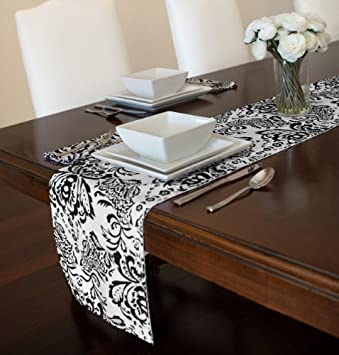 Black And White Damask Table Runners 12u0026quot; ...